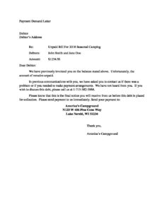 Demand Letter For Payment from www.wisconsincampgrounds.com